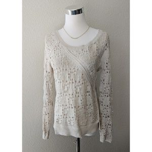 Anthro Knitted Knotted collected stitches sweater